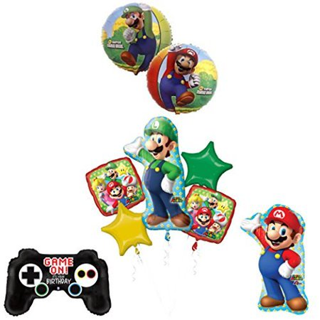 The ULTIMATE Super Mario Brothers and Luigi Video Game Birthday Party supplies (Super Mario Brothers Decorations)