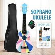 Manfiter Soprano Ukulele Beginners Kit, 21 Inch Basswood Ukulele Instrumen With Nylon Gig Bag, Strap, Clip-on Digital Tuner, Extra Strings, Guitar Small Hawaiian Ukelele Starter Kit For Child Adult