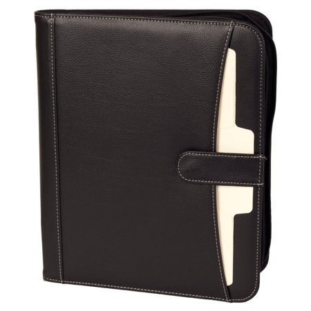 eFolio Business Portfolio Padfolio Professional Genuine Pebble Leather Zippered Organizer with Tablet Holder, A4 Letter Size Writing Pad, Calculator, Card Holder, Document Folder and Outside Pocket ()