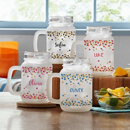 Personalized Confetti Name Frosted Mason Jar -Black - Block (Pink And Blue Mason Jars)
