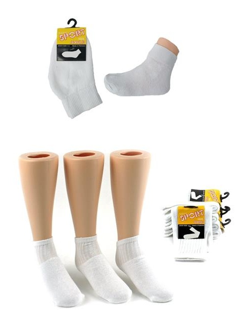 Eros 6001E-02E Toddlers Athletic Socks Combo, White - Size 1-3 - Pack of 144