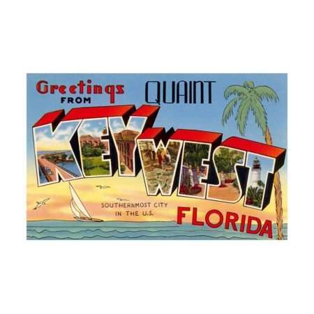Greetings from Quaint Key West, Florida, the Southernmost City in the U.S. Print Wall Art (Florida City Outlets)