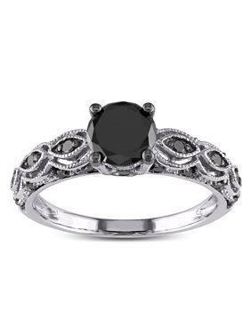 1.25 Carat Round Black Diamond Engagement Ring for Women in White Gold, Under 300
