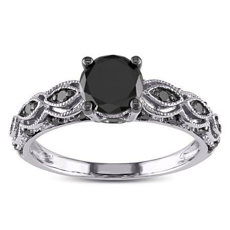 1.25 Carat Round Black Diamond Engagement Ring for Women in White Gold, Under 300 ()