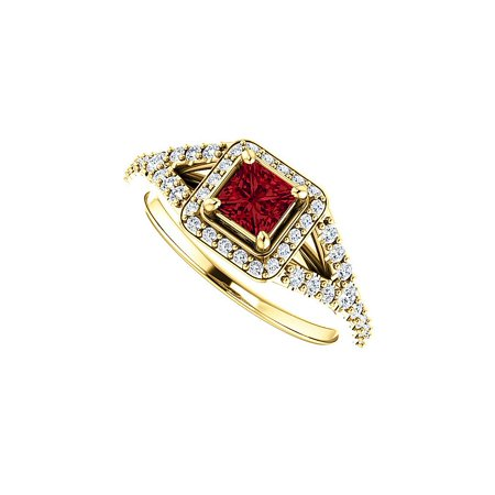 CZ and Faceted Cut Ruby Split Shank Halo Ring 14K Gold Faceted Rough Cut Ruby