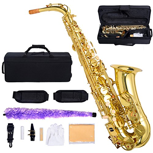 GHP Professional Gold Painted Eb Alto Sax Saxophone w Case And Accessories by