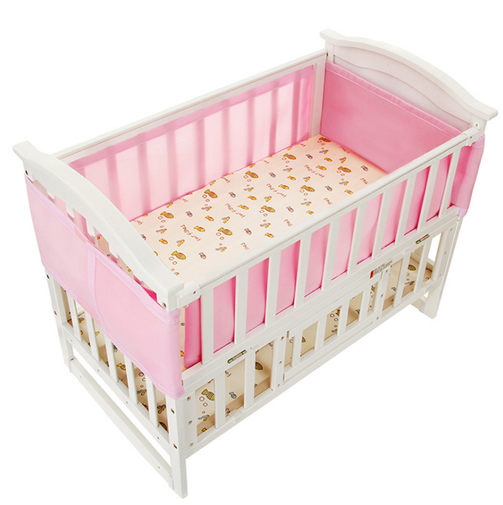 Pink Breathable Mesh Baby Crib Bumpers, Baby Safety Panel Mesh Crib Liner