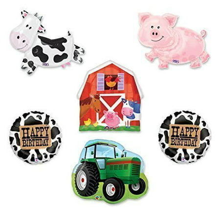 Barn Farm Animals Birthday Party Cow, Pig, Tractor, Barn Balloons