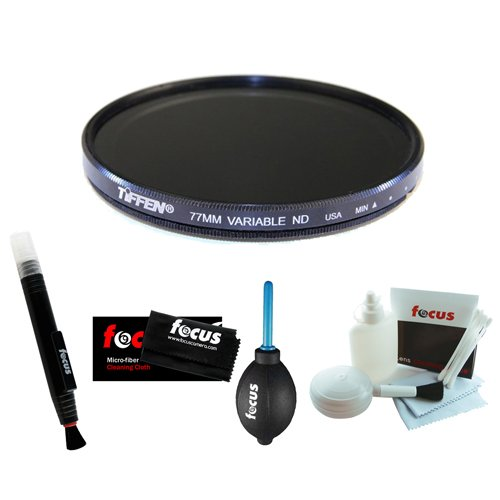 Tiffen 77mm Variable Neutral Density Filter + Focus Lens Cleaning Pen + Accessory Kit