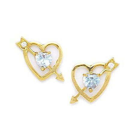 2dddd704a JewelryWeb - 14k Yellow Gold March Lt-Blue CZ Cupids Arrow Screw-Back  Earrings - Measures 11x13mm - Walmart.com