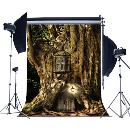 MOHome Polyster 5x7ft Fairy Tale Spirit Tree House Photography Backdrops Children Photo Birthday Newborn Photo Backgrounds Studio Props ()