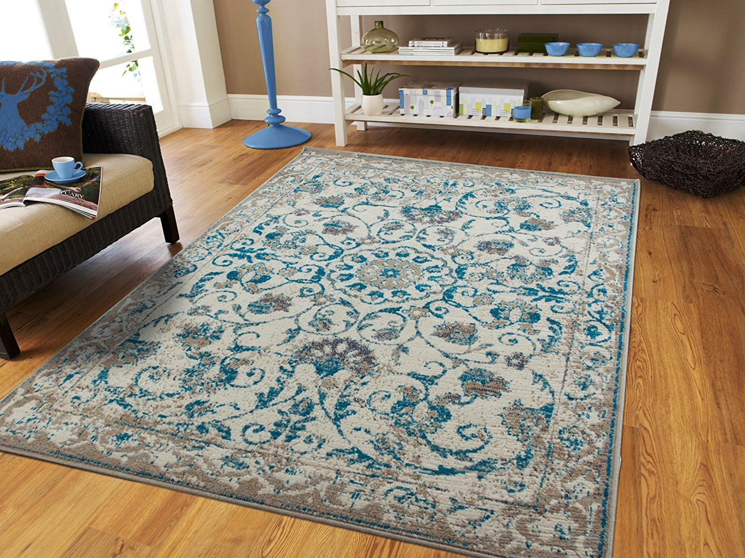 Century Rugs Traditional Vintage Area Rug Distressed Rugs Blue 8x10 ...