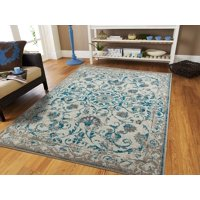 Century Rugs Traditial Vintage Area Rug Distressed Rugs Blue 8x10 Persian Area Rugs Tassels 8 by 10 Area RugsGray Rugs for Living Room and Bedroom Rugs