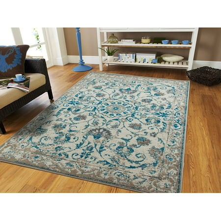 Traditional Vintage Area Rug Distressed Rugs Blue Area