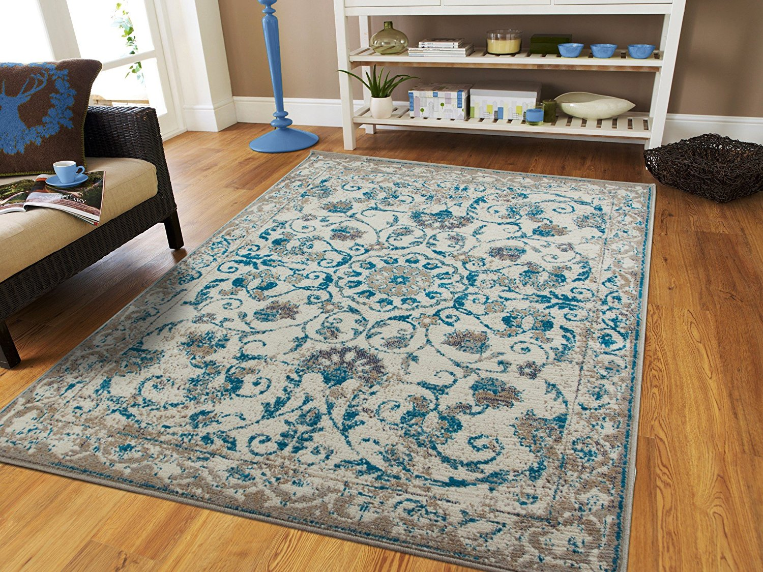 Century Rugs Traditional Vintage Area Rug Distressed Rugs Blue 8x10 Persian Area  Rugs Tassels 8 By