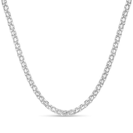 - Sterling Silver 3MM Bismark Chain Necklace 20 Inches
