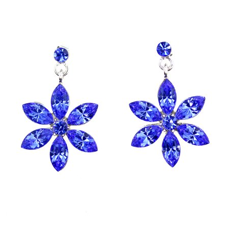 Gorgeous Crystal Dangling Daisy Floral Pierced Earrings - Blue Crystal Chandelier Pierced Earrings