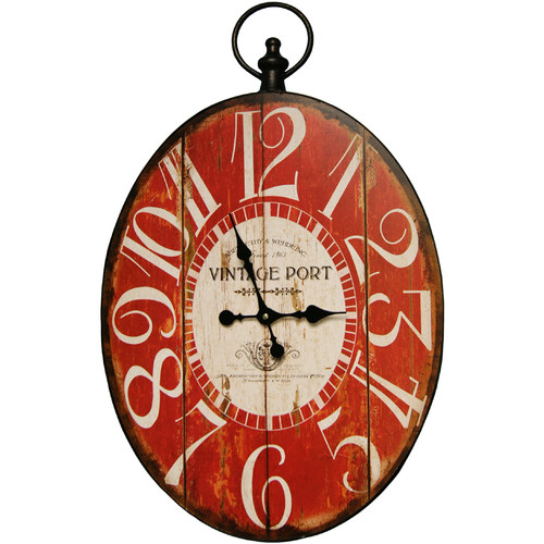 HDC 05-0028 Clock Oval Red Big Num