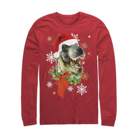 Men's Ugly Christmas Sweater T Rex Santa Long Sleeve T-Shirt - Ugly Santa