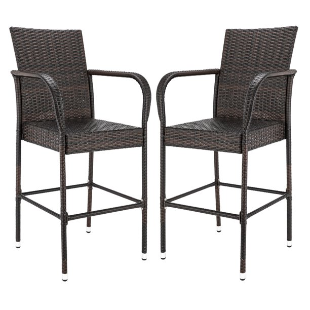 Wicker Chair Barstool Tall High Backrest Patio Furniture: 2-Piece Bar Height Patio Set, Upgraded Wicker Bar Stool