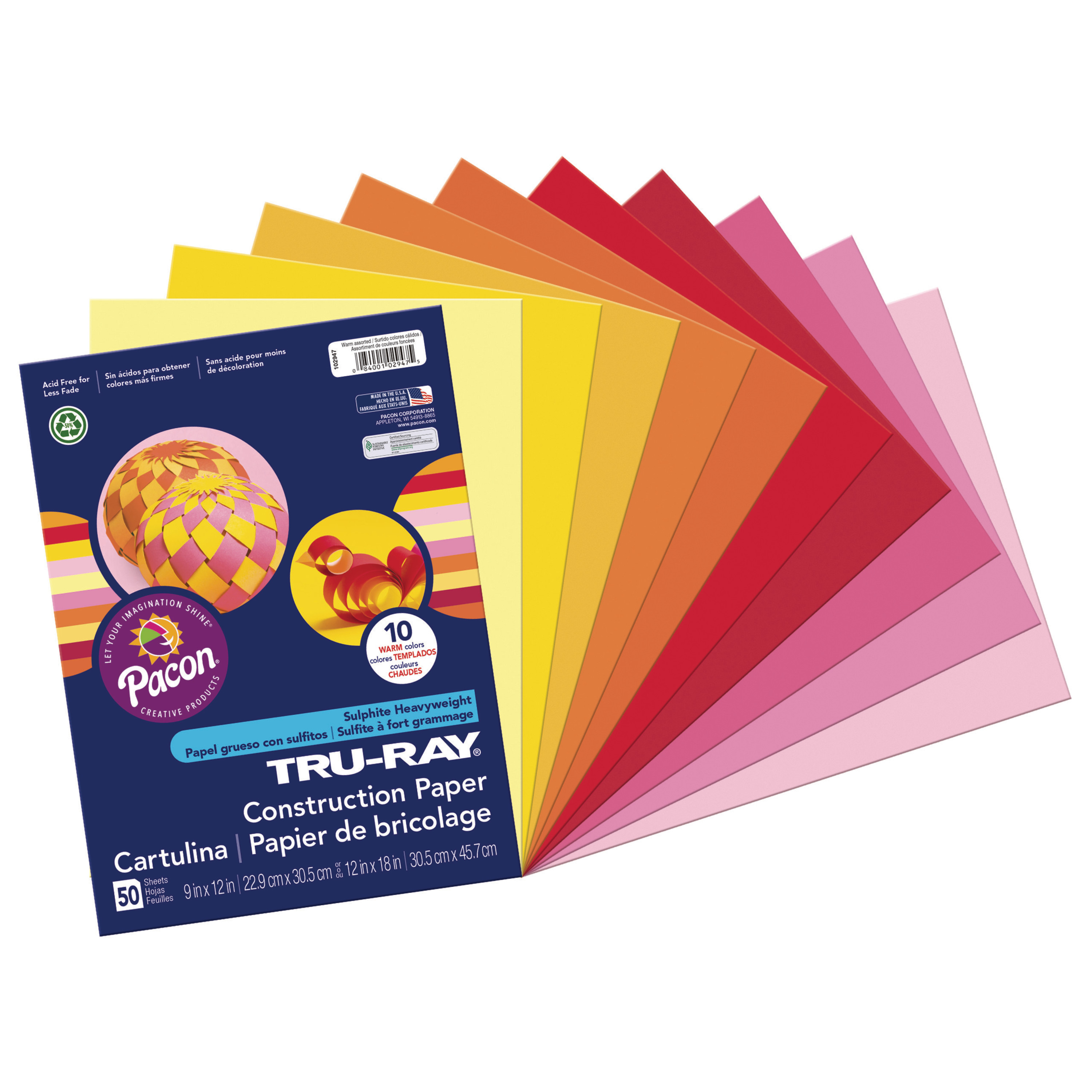 "Pacon Tru-Ray Construction Paper, 9"" x 12"", Warm Assorted Colors"