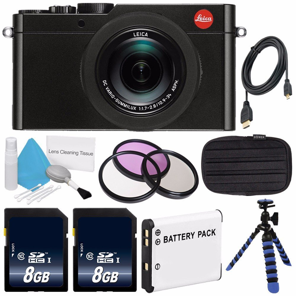 Leica D-LUX (Typ 109) Digital Camera (Black) (International Model no Warranty) + DMW-BLE9 Replacement Lithium Ion Battery + Flexible Tripod with Gripping Rubber Legs + Mini HDMI Cable Bundle 18