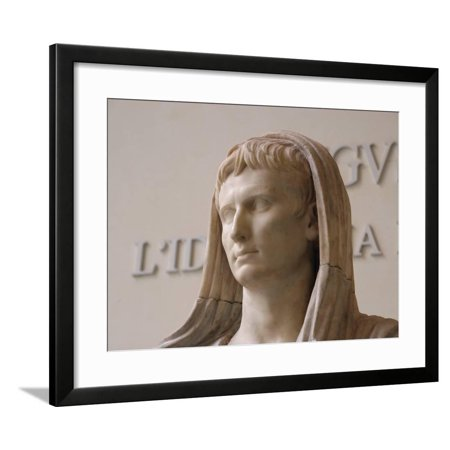 First Emperor of the Roman Empire, Marble Statue, Roman National Museum, Rome, Italy Framed Print Wall Art By Prisma (French Empire Marble)