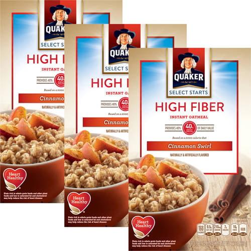 Quaker High Fiber Cinnamon Swirl Instant Oatmeal, 12.6oz/8ct (Pack of 3)