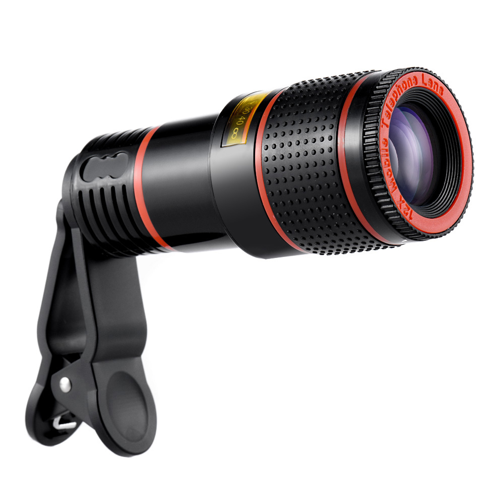 KKmoon Universal 12X Zoom Mobile Phone Lens Clip-on Telescope Retractable