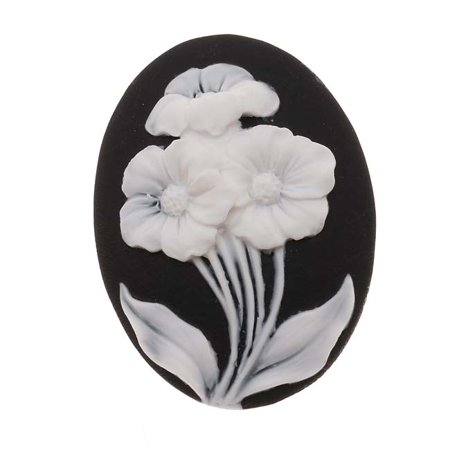 Lucite Oval Cameo Black With 3 White Flowers 40x30mm (1 Piece)