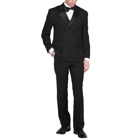 Adam Baker by Mantoni Men's M40901 Double Breasted 100% Wool Peak Lapel Tuxedo - Black - 36S