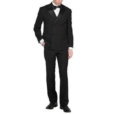 Adam Baker by Mantoni Men's M40901 Double Breasted 100% Wool Peak Lapel Tuxedo - Black - - Wool Tux