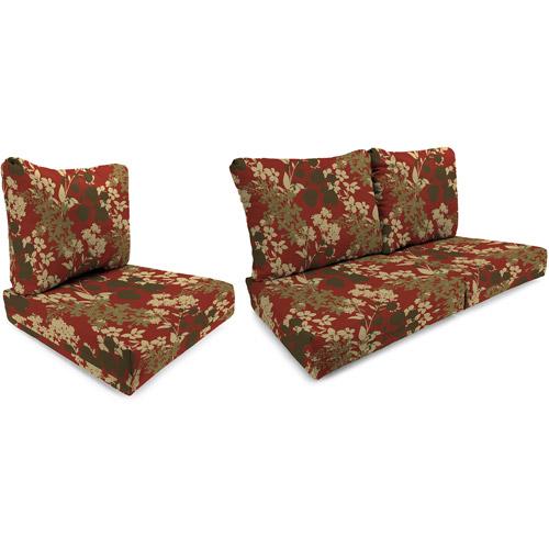 Jordan Manufacturing Outdoor Patio Wicker Cushion Set, Sangria