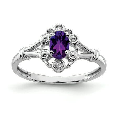 925 Sterling Silver Purple Amethyst Diamond Band Ring Size 10.00 Birthstone February Gemstone Fine Jewelry For Women Gifts For Her - image 6 of 6