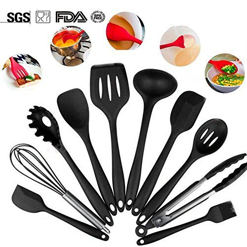 10-Piece Silicone Cooking Set Black- Spoons, Turners, Spatula & 1 Ladle Etc - Heat Resistant Kitchen Utensils - Easy to Clean