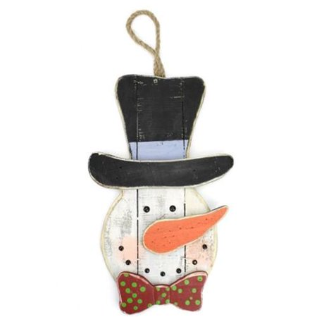 Distressed Snowman Head Wooden Hanging Decor, - Wooden Snowman