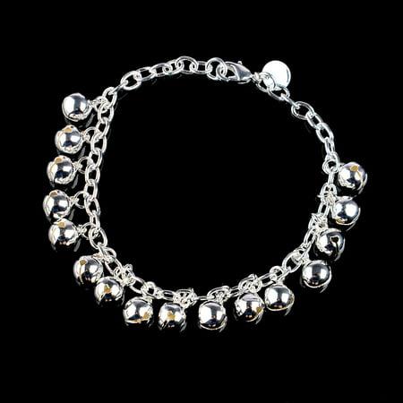 Hot Sale Women's 925 Silver Plated Jingle Bells Bracelet