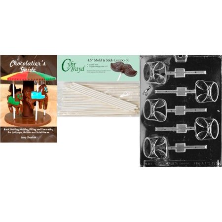 Diaper Lollipop - Cybrtrayd 'Diaper Lolly' Baby Chocolate Candy Mold with 50 4.5-Inch Lollipop Sticks and Chocolatier's Guide