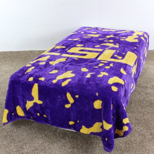 "LSU Tigers College Covers Collegiate Print Throw Blanket / Bedspread 63"" x 86"""