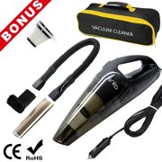 [Upgraded] Car Vacuum Cleaner, ANKO High Power DC12-Volt Wet&Dry Handheld Auto Vacuum Cleaner with 16.4FT(5M) Power Cord, 2 Filters, 3 different attachments and One Carrying Bag. (BLACK-1 PACK)