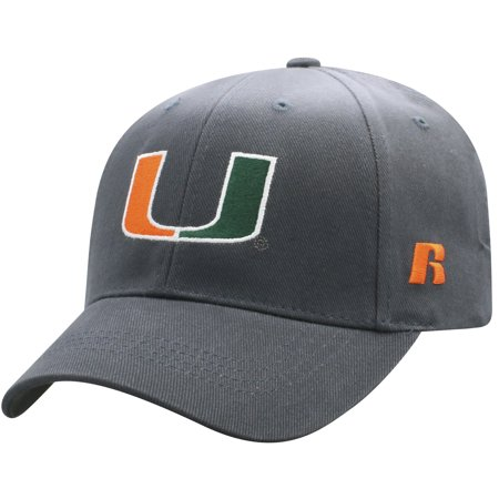 Men's Russell Charcoal Miami Hurricanes Endless Adjustable Hat - OSFA (Miami Adult Hat)