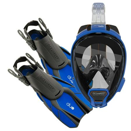 Ocean Reef Diving - Ocean Reef Aria QR+, Duo Travel Ready Mask/Fins Set Diving, Snorkeling Blue