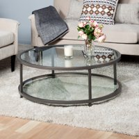 """Studio Designs Home Camber 2-Tier Modern 38"""" Round Coffee Table in Pewter"""