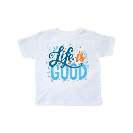 Navy Blue Toddler T-shirt - Life is Good Handlettered in Dark Blue Light Blue and Orange Toddler T-Shirt