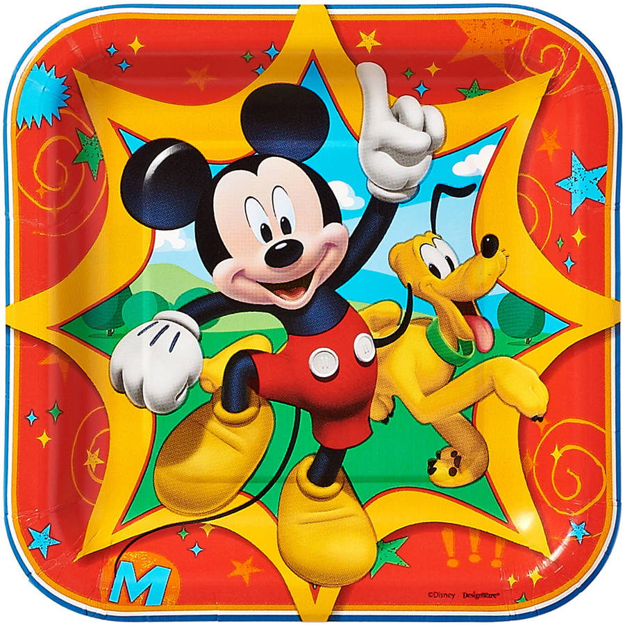 "7"" Mickey Mouse Clubhouse Square Paper Party Plate, 8ct"