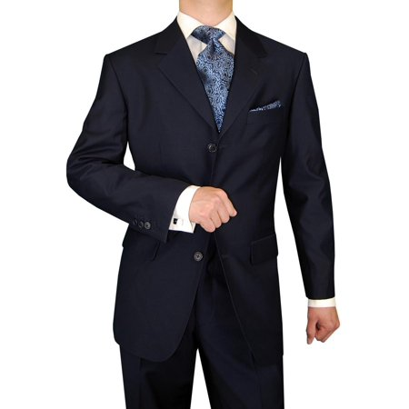 DTI GV Executive Italian Men's Wool Suit 3 Button 2 Piece Suits Jacket Trousers Dk Navy Wool 3 Button Italian