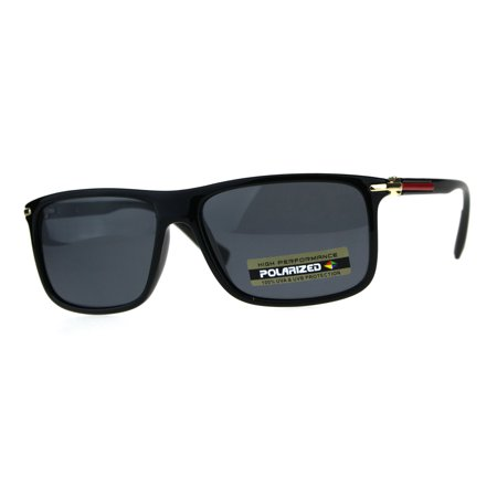 Polarized Antiglare Mens Luxury Designer Fashion Mod Sunglasses Shiny Black - Mod Sunglasses