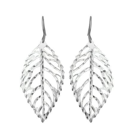 Open Leaf Dangle Earrings in Sterling Silver ()