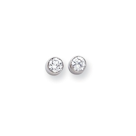 5mm Bezel Set Cubic Zirconia Stud Earrings in 14k White Gold