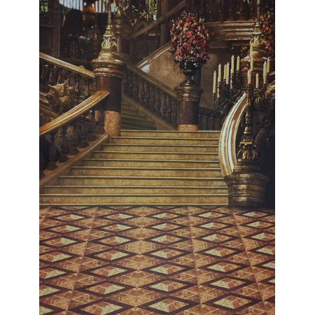GreenDecor Polyster 5x7ft Photography Backgrounds Cinderella Stairs of Fairy Tales Photo Backdrop Studio Prop (Cinderella Backdrop)